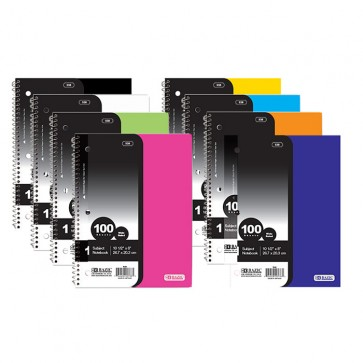 W/R 100 Ct. 1-Subject Poly Cover Spiral Notebook