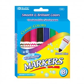 8 Color Broad Line Jumbo Washable Markers