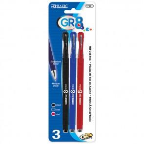 Color Oil-Gel Ink Pen w/ Rubberized Barrel (3/Pack)