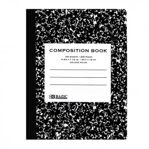 C/R 100 Ct. Black Marble Composition Book